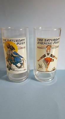 "The Saturday Evening Post""Norman Rockwell""; 2 Tumblers; Leap Frog & The Spooners"