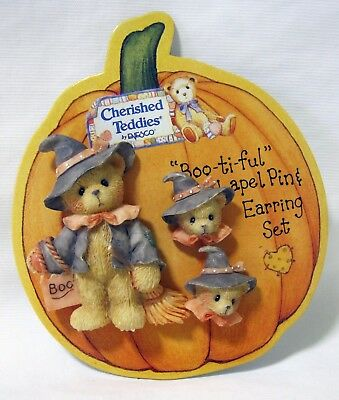 Cherished Teddies Halloween Bear Witch Lapel Pin & Pierced Earrings Set