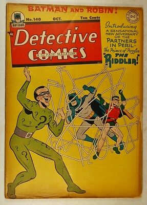 Detective Comics #140 (Oct 1948, DC) The Riddler Cover Story & First Appearance!