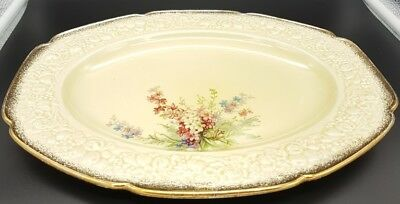 Crown Ducal Florentine oval serving plate 'Picardy' 18k gold