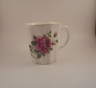 Royal Grafton Cup Mug Pink Rose & Buds Fine Bone China Ribbed Pattern 6 oz
