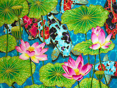 Jean-Baptiste Original Batik Silk Painting Of Lotus Flowers And Koi