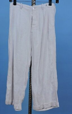 1940'S Young Boy'S White Linen Pants W Button Fly & Turned Up Cuffs