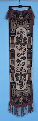 Ornate Turn Of The Century Victorian Arts & Crafts Hand Woven Runner Cloth