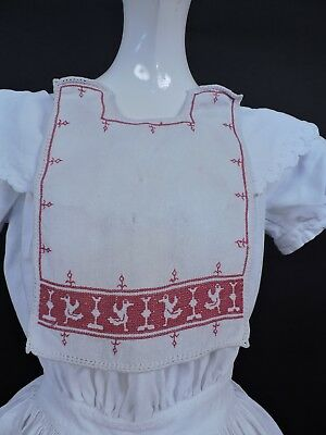 Victorian 19Th C Red Folk Embroidered Baby Bib