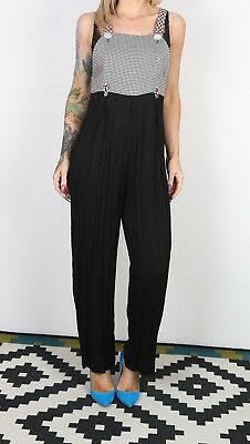 Jumpsuit Checked Crinkle Patterned UK 8 XS  All in one 90's (B3L)