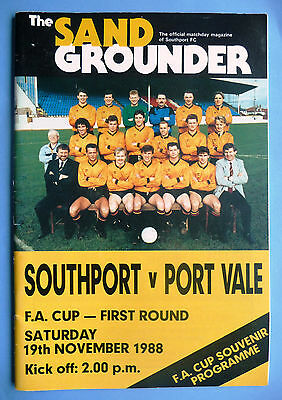 1988/1989 Southport v Port Vale - fa cup round 1 - 19/11/1988