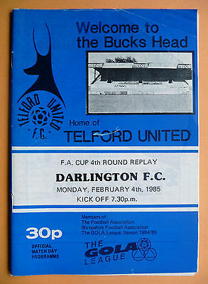1984/1985 Telford United v Darlington - fa cup round 4 replay - 04/02/1985