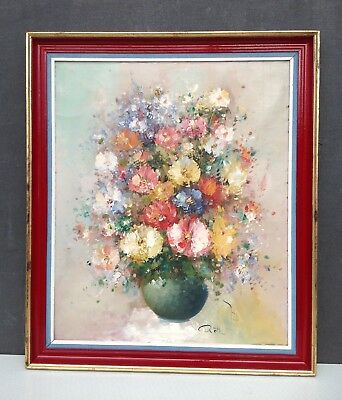 Original oil painting on canvas framed vintage still life vase of flowers signed