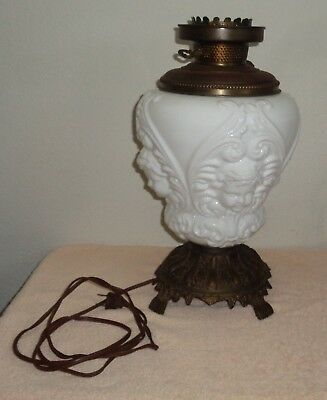 Vintage Victorian White Glass Cherub Face Gone With The Wind Lamp Base