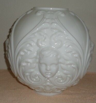 Vintage Victorian White Glass Cherub Face Gone With The Wind Lamp Shade