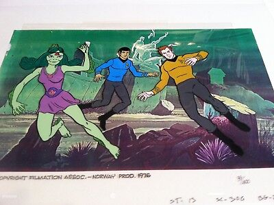 "Star Trek Animated Series ""The Ambergris Element"" Cel Hand Painted Kirk & Spock"