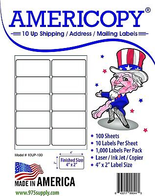 "Americopy Made in USA Labels for Inkjet/Laser 10UP 4 x 2"" 1,000/Pack"