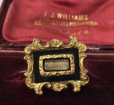 Victorian delightful antique mourning brooch with french jet & plaitted hair