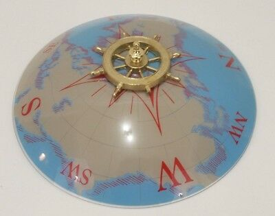 Vintage World Map Globe Ceiling Light Fixture Glass Cover & Boat Wheel - 15 Inch