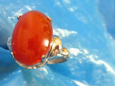 Vintage Fine Sterling Silver Natural Mined Carnelian Ladies Ring Sz 6