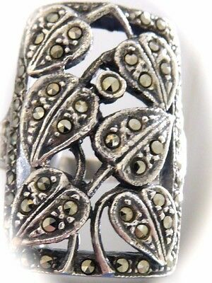 Vintage Fine Sterling Silver Natural Mined Marcasite Rectangle Ladies Ring S5.75