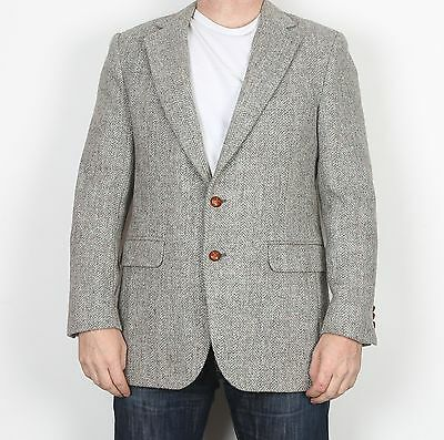 "Harris Tweed 40"" Small Medium  Jacket Blazer Beige Grey   (H5H)"