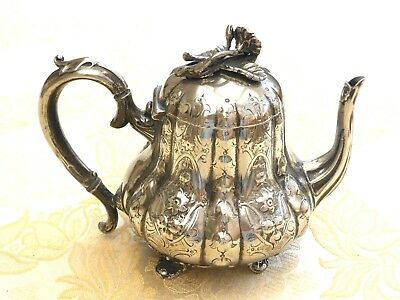 Art Deco Silver Plated Footed And Floral Patterned Tea Pot  1330532/541