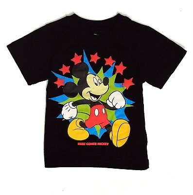 Disney Toddler Boys Tee Shirt Mickey Mouse Black Graphic Short Sleeve 2t 3t 4t