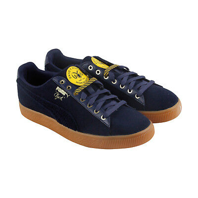 size 40 1d9d6 55c94 PUMA CLYDE WOOL Bhm Mens Blue Suede Lace Up Sneakers Shoes