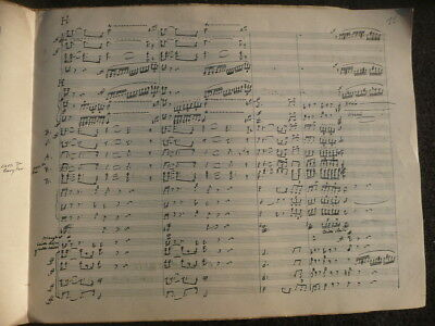 Rare Old Band Score Handwriting R. Wagner Funeral March Siedfried - Around 1860