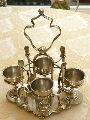 Art Deco Silver Plated Stand With Four Egg Cups And Four Spoons  1330566/574