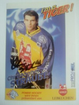 Auto'd CHRISTOPHER STRAUBE 1997-98 Nürnberg Ice Tigers team issued postcard