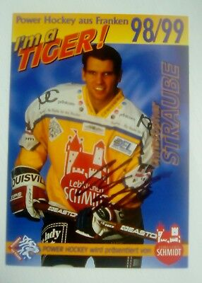 Auto'd CHRISTOPHER STRAUBE 1998-99 Nürnberg Ice Tigers team issued postcard