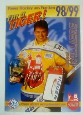 Auto'd MICHEL VALLIERE 1998-99 Nürnberg Ice Tigers team issued postcard