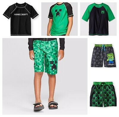 ea37cac384 Minecraft Rash Guard or Swim Trunks Beach Shorts Bathing Suit Boys UPF 50+  NEW