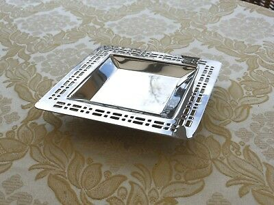 Vintage Silver Plated Square Pierced Dish With Raised Base   1330556/560