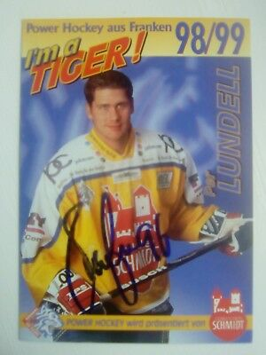 Auto'd PER LUNDELL 1998-99 Nürnberg Ice Tigers team issued postcard