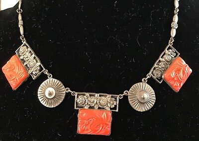 Stunning Rare *victorian Carved Coral Silver Flower Necklace Costume Jewelry