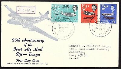 25Th Anniversary First Airmail Fiji To Tonga (K2325)