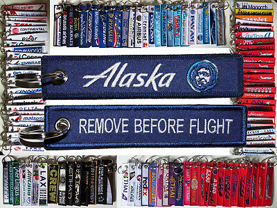 Keyring ALASKA AIRLINES new logo Remove Before Flight keychain for pilot