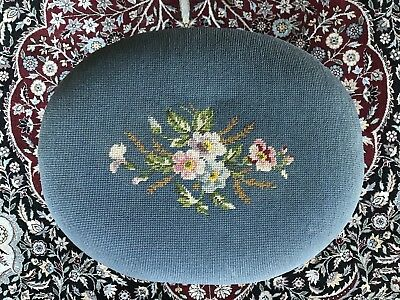 Beautiful Vintage Needlepoint French Foot Stool