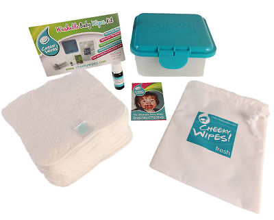Baby Wipes Mini Kit for Cloth Nappy Users - 25 x Wipes, Container & Wash Bag
