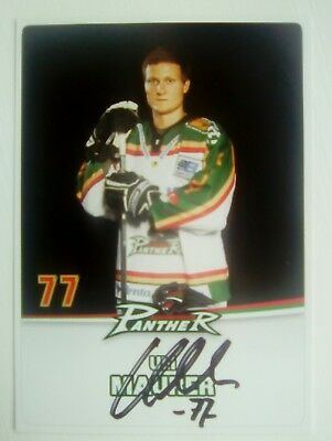 Auto'd ULI MAURER 2009-10 Augsburg Panthers team issued postcard
