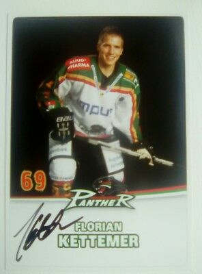Auto'd FLORIAN KETTEMER 2009-10 Augsburg Panthers team issued postcard