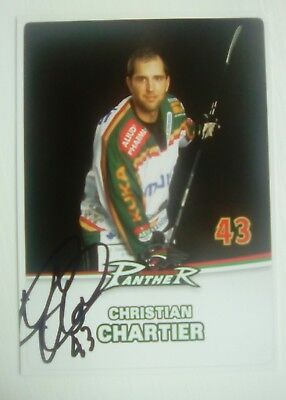 Auto'd CHRISTIAN CHARTIER 2009-10 Augsburg Panthers team issued postcard