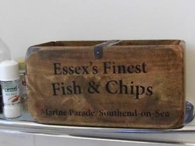 Vintage Style Wood Storage Crate Display Chest Box Essex Fish & Chips Southend