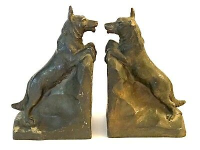 Antique 1930s Non Magnetic Metal German Shepherd Dog Bookends SIGNED