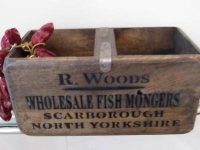 Vintage Style Wood Storage Crate Display Chest Box Fishmongers Scarborough Yorks