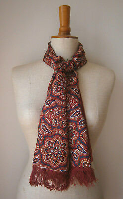 VINTAGE 1960s MITCHELSONS OF LONDON MENS SCARF NAVY BLUE & RED PAISLEY PRINT
