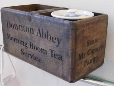 Vintage Style Wood Storage Crate Chest Box Downton Abbey Morning Tea Service