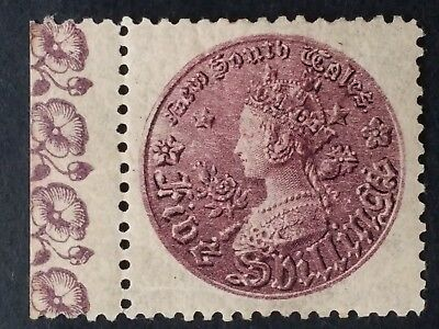 Rare 1888- NSW Australia 5/- Rose Lilac Medallion stamp Perf 11 Mint with Margin