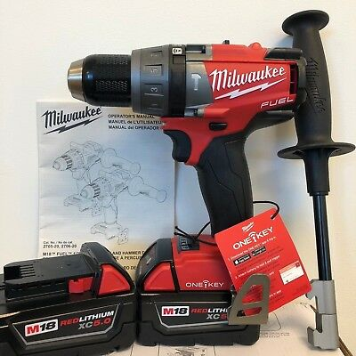 "MILWAUKEE 2706-20 M18 FUEL BRUSHLESS 1/2"" Hammer Drill ONE-KEY + (2) 5.0AH Batt"