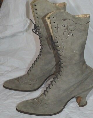 Antique Victorian Womens Shoes Gray Suede Steel Beaded High Top Boots Sorosis