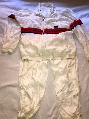 VINTAGE SERGIO TACCHINI WHITE TRACK SUIT JACKET 44 & PANTS 38 HIPSTER 70s 80s